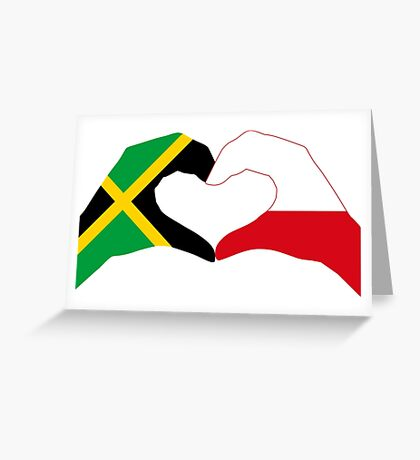 We Heart Jamaica and Poland Patriot Flag Series Greeting Card