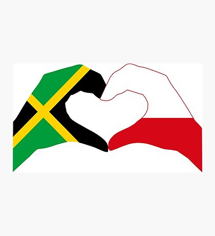 We Heart Jamaica and Poland Patriot Flag Series Photographic Print