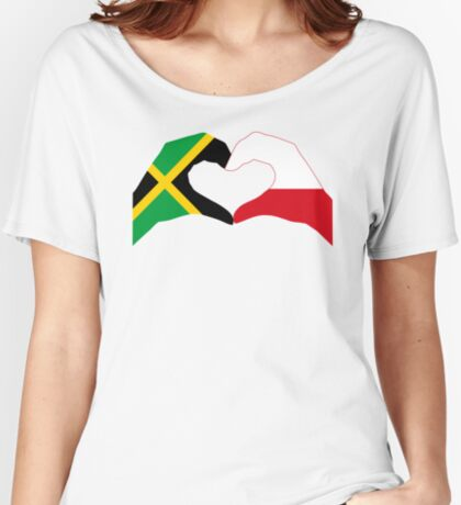 We Heart Jamaica and Poland Patriot Flag Series Relaxed Fit T-Shirt
