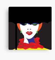 Girl in hat in pop art style. Canvas Print