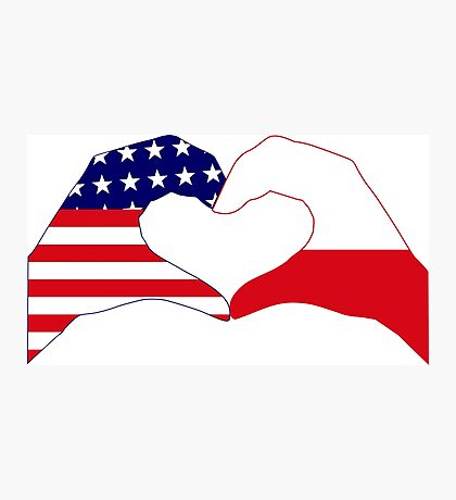 We Heart U.S.A. & Poland Patriot Flag Series Photographic Print