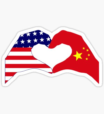 We Heart U.S.A. and China Patriot Flag Series Glossy Sticker
