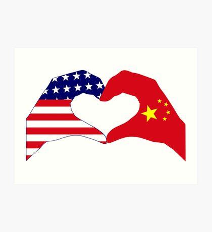 We Heart U.S.A. and China Patriot Flag Series Art Print