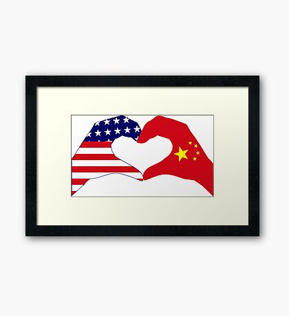 We Heart U.S.A. and China Patriot Flag Series Framed Print