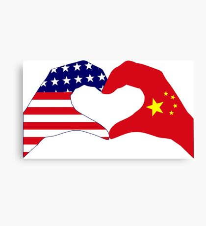 We Heart U.S.A. and China Patriot Flag Series Canvas Print