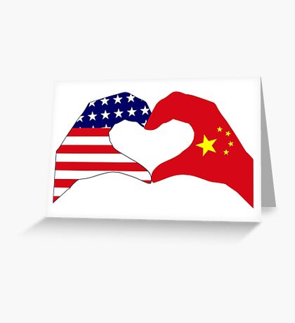 We Heart U.S.A. and China Patriot Flag Series Greeting Card