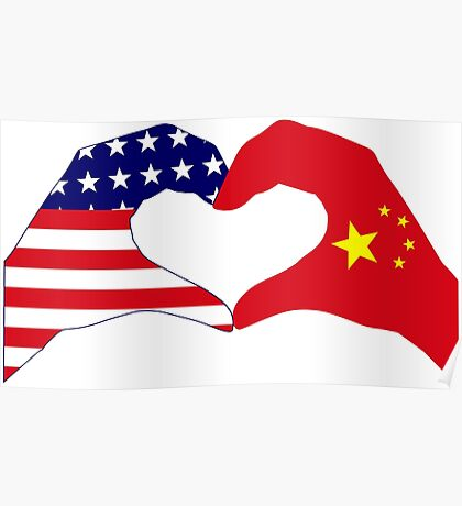 We Heart U.S.A. and China Patriot Flag Series Poster