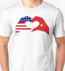 We Heart U.S.A. and China Patriot Flag Series Unisex T-Shirt