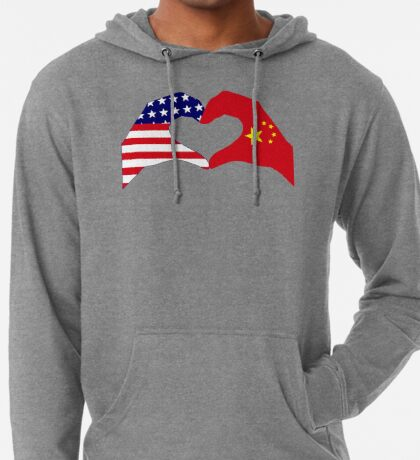 We Heart U.S.A. and China Patriot Flag Series Lightweight Hoodie