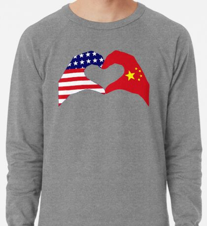 We Heart U.S.A. and China Patriot Flag Series Lightweight Sweatshirt