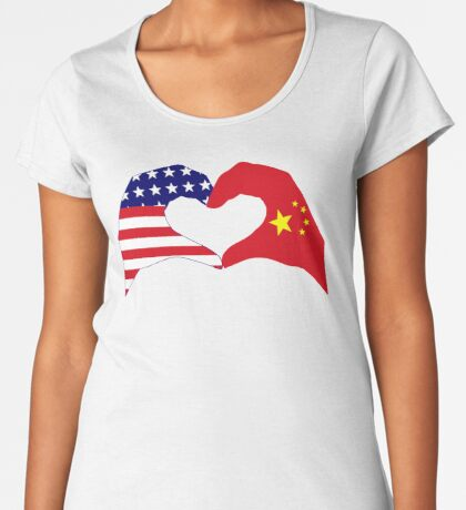 We Heart U.S.A. and China Patriot Flag Series Premium Scoop T-Shirt