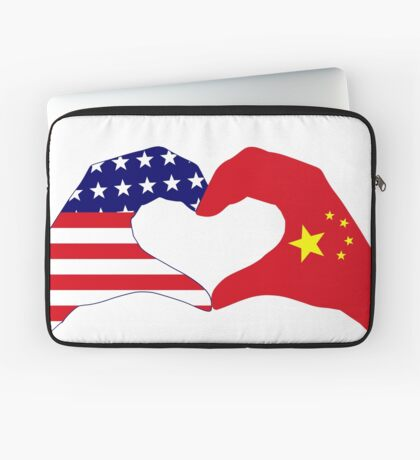 We Heart U.S.A. and China Patriot Flag Series Laptop Sleeve