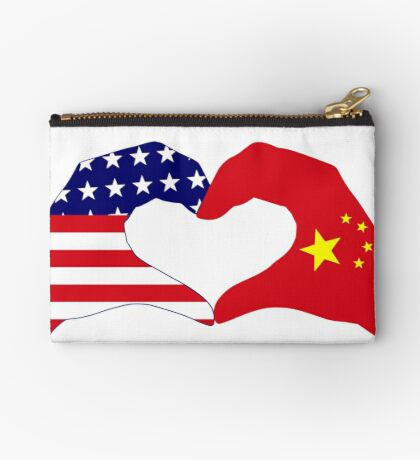 We Heart U.S.A. and China Patriot Flag Series Zipper Pouch