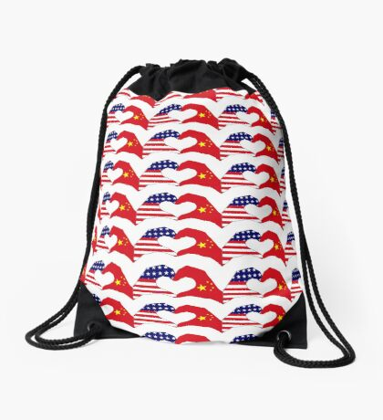 We Heart U.S.A. and China Patriot Flag Series Drawstring Bag