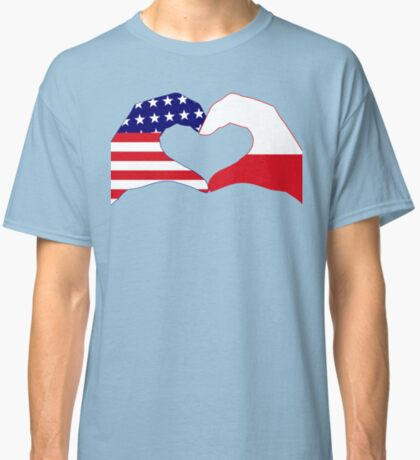 We Heart U.S.A. & Poland Patriot Flag Series Classic T-Shirt