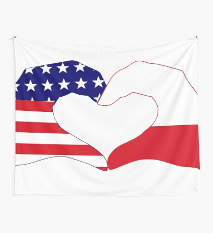 We Heart U.S.A. & Poland Patriot Flag Series Wall Tapestry