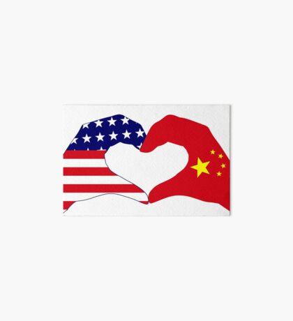 We Heart U.S.A. and China Patriot Flag Series Art Board Print