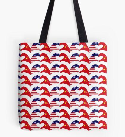 We Heart U.S.A. and China Patriot Flag Series Tote Bag