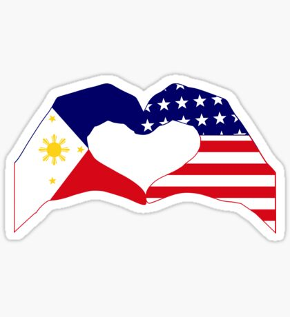 We Heart Philippines & U.S.A. Patriot Flag Series Glossy Sticker
