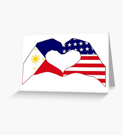We Heart Philippines & U.S.A. Patriot Flag Series Greeting Card