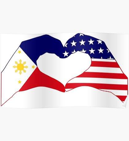 We Heart Philippines & U.S.A. Patriot Flag Series Poster