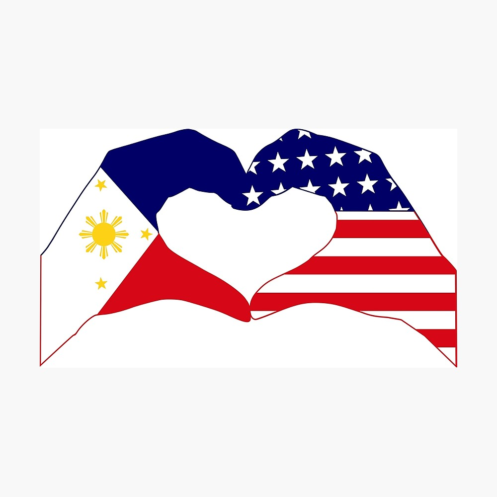 We Heart Philippines & U.S.A. Patriot Flag Series Photographic Print