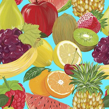 Colorful Mix of Fruits on Aqua Background by critterville