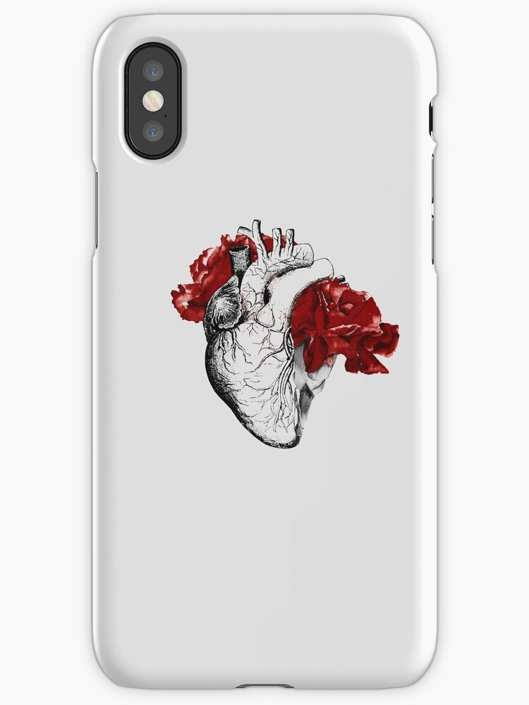 Anatomical Heart With Red Flowers by kaespo