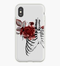 Skeleton Ribcage with Red Floral Blooms iPhone Case