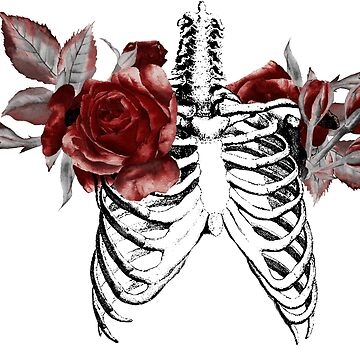 Skeleton Ribcage with Florals by kaespo
