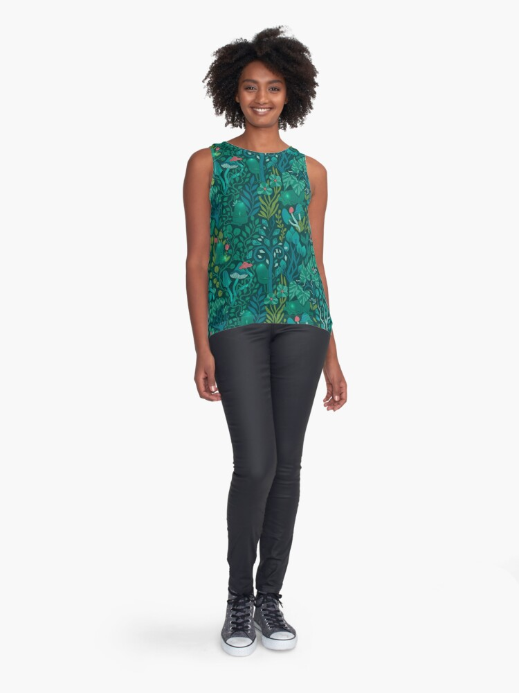 Alternate view of Emerald forest keepers. Fairy woodland creatures. Sleeveless Top