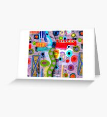 Purple Abstract Grungy Old Styled Art  -  Ruth Fitta-Schulz Greeting Card