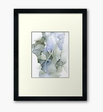 Blue and Gray Ink Abstract, Serenity Framed Print