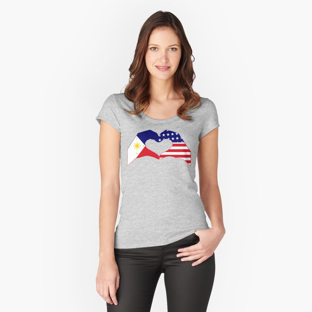 We Heart Philippines & U.S.A. Patriot Flag Series Fitted Scoop T-Shirt