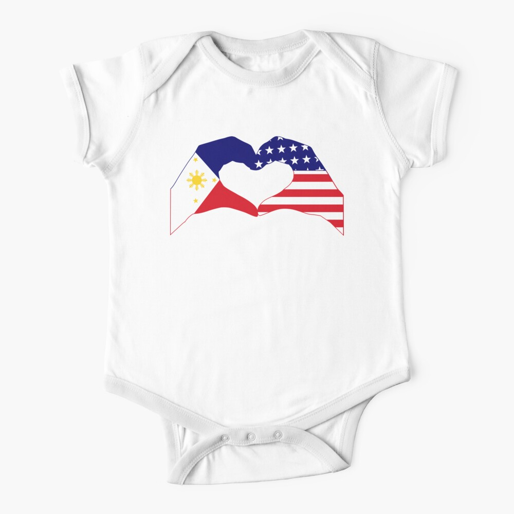 We Heart Philippines & U.S.A. Patriot Flag Series Baby One-Piece