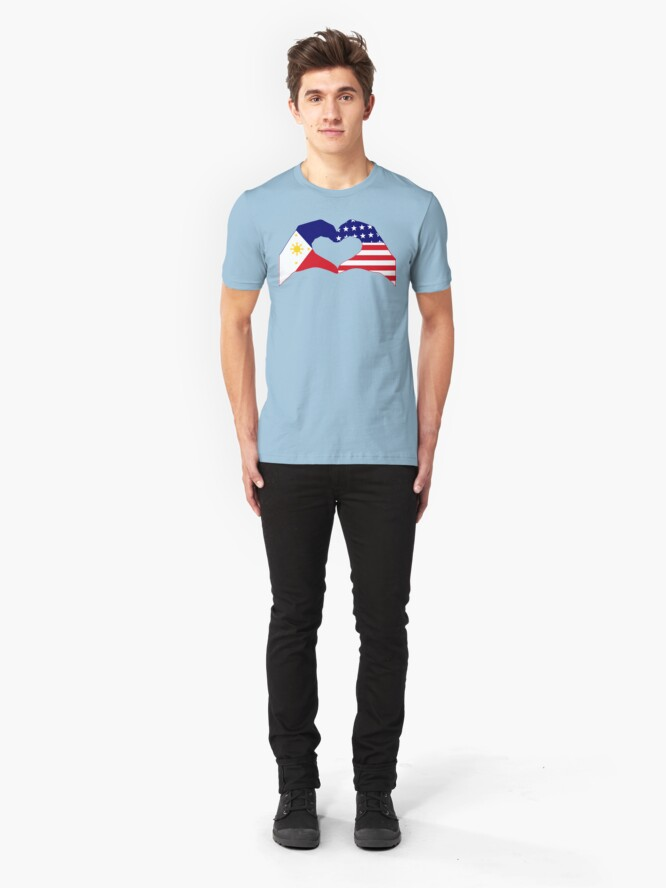 Alternate view of We Heart Philippines & U.S.A. Patriot Flag Series Slim Fit T-Shirt