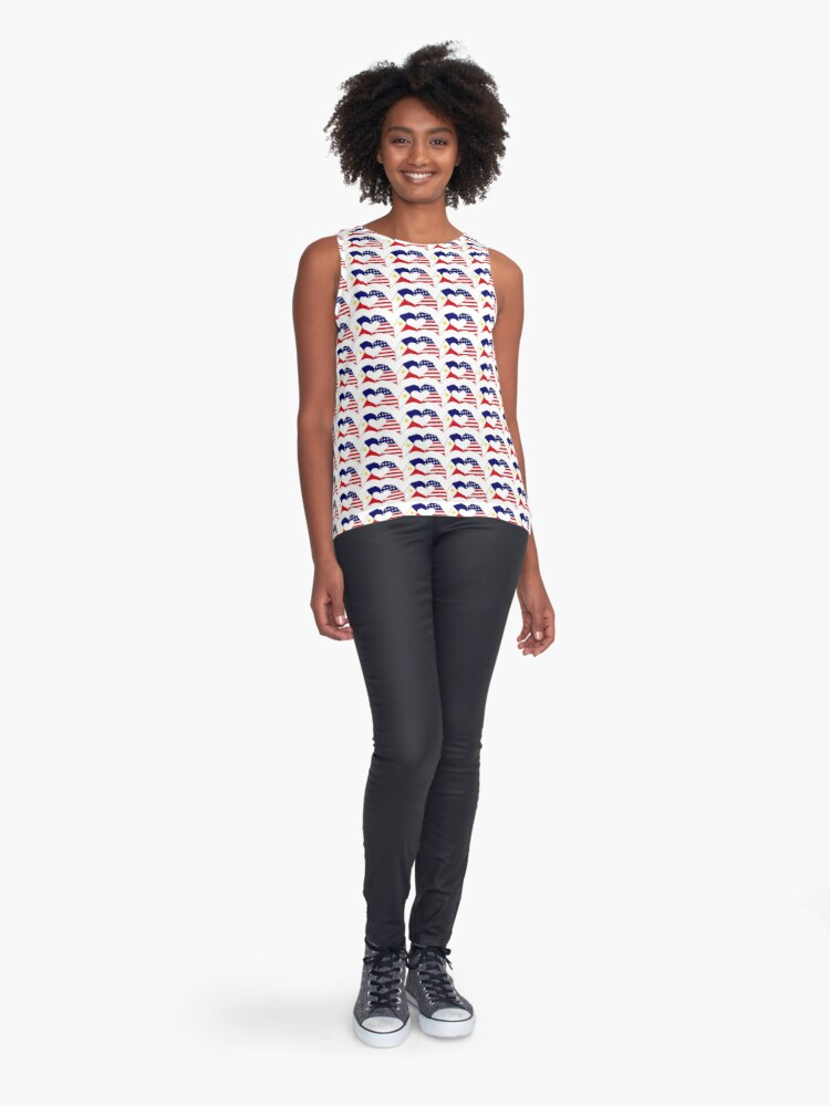 Alternate view of We Heart Philippines & U.S.A. Patriot Flag Series Sleeveless Top