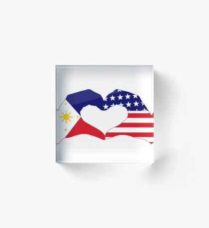 We Heart Philippines & U.S.A. Patriot Flag Series Acrylic Block