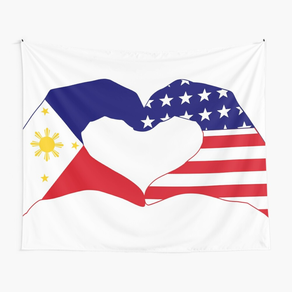 We Heart Philippines & U.S.A. Patriot Flag Series Wall Tapestry