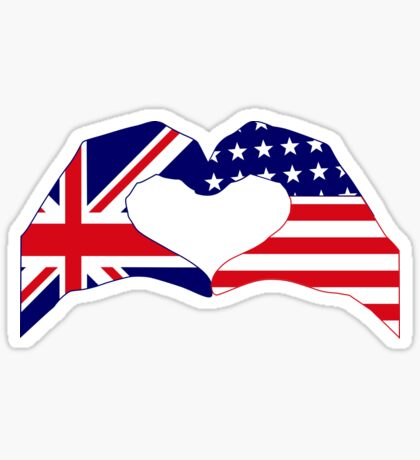 We Heart UK & USA Patriot Flag Series Sticker