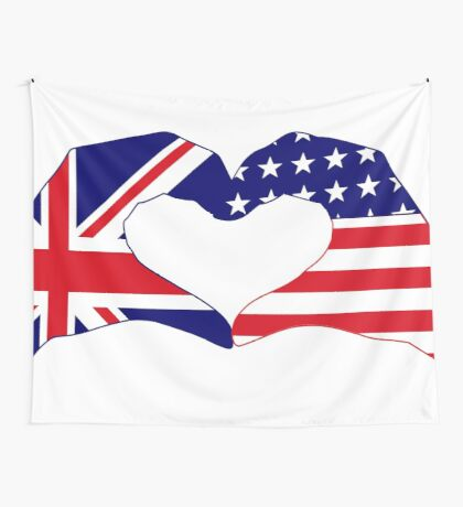 We Heart UK & USA Patriot Flag Series Wall Tapestry