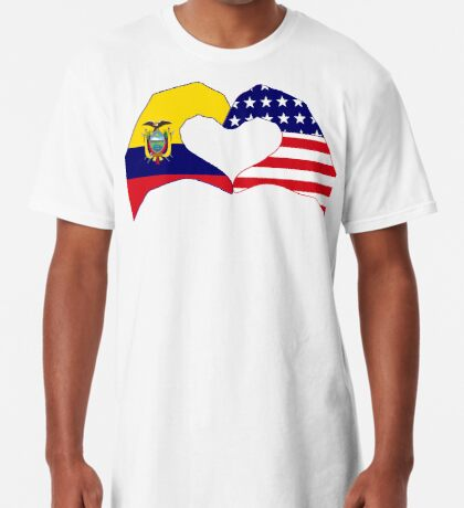 We Heart Ecuador & USA Patriot Flag Series Long T-Shirt