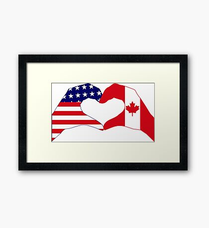 We Heart USA & Canada Patriot Flag Series Framed Print