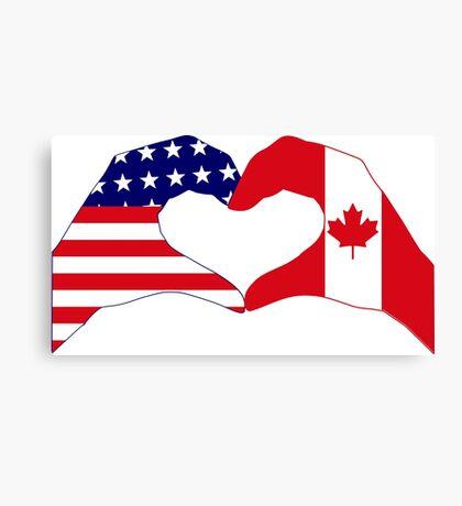 We Heart USA & Canada Patriot Flag Series Canvas Print