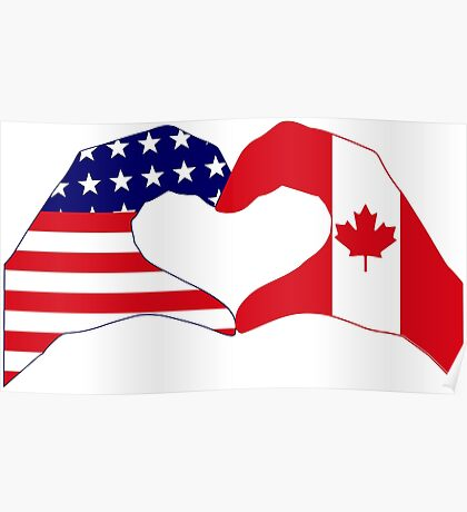 We Heart USA & Canada Patriot Flag Series Poster