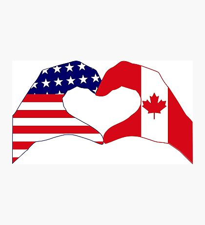 We Heart USA & Canada Patriot Flag Series Photographic Print