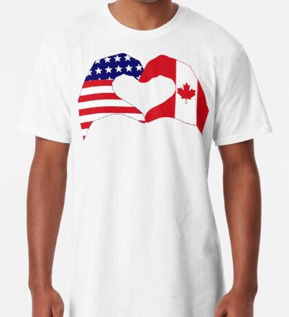We Heart USA & Canada Patriot Flag Series Long T-Shirt