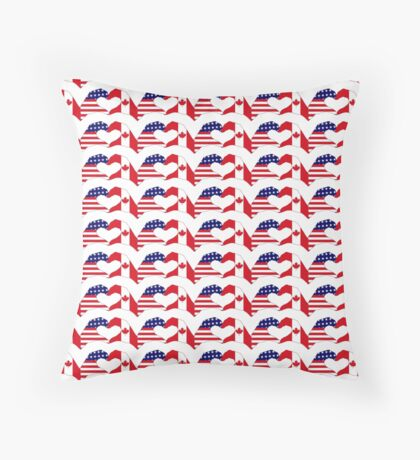 We Heart USA & Canada Patriot Flag Series Throw Pillow