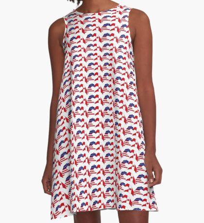 We Heart USA & Canada Patriot Flag Series A-Line Dress