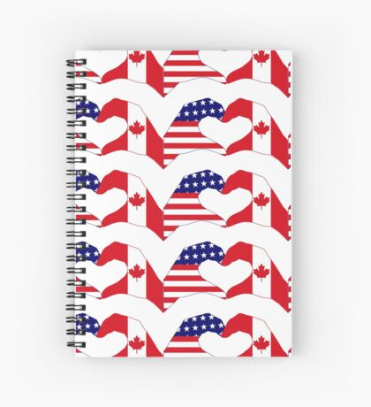 We Heart USA & Canada Patriot Flag Series Spiral Notebook